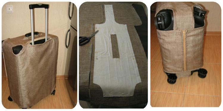 чехол на чемодан из мешковины
